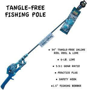 Kid Casters 34IN Tangle-Free Youth Kids Fishing Pole 儿童防打结钓鱼竿